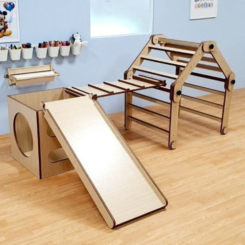 Pikler Triangle with Tunnel Box, Ramp and Slide Set